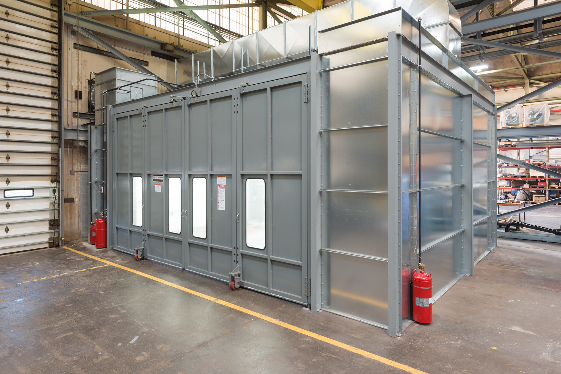 Paint booth in the workshop at EBNER USA