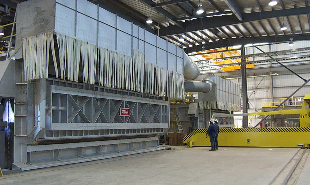 Melting furnace with a capacity of 18 t/h